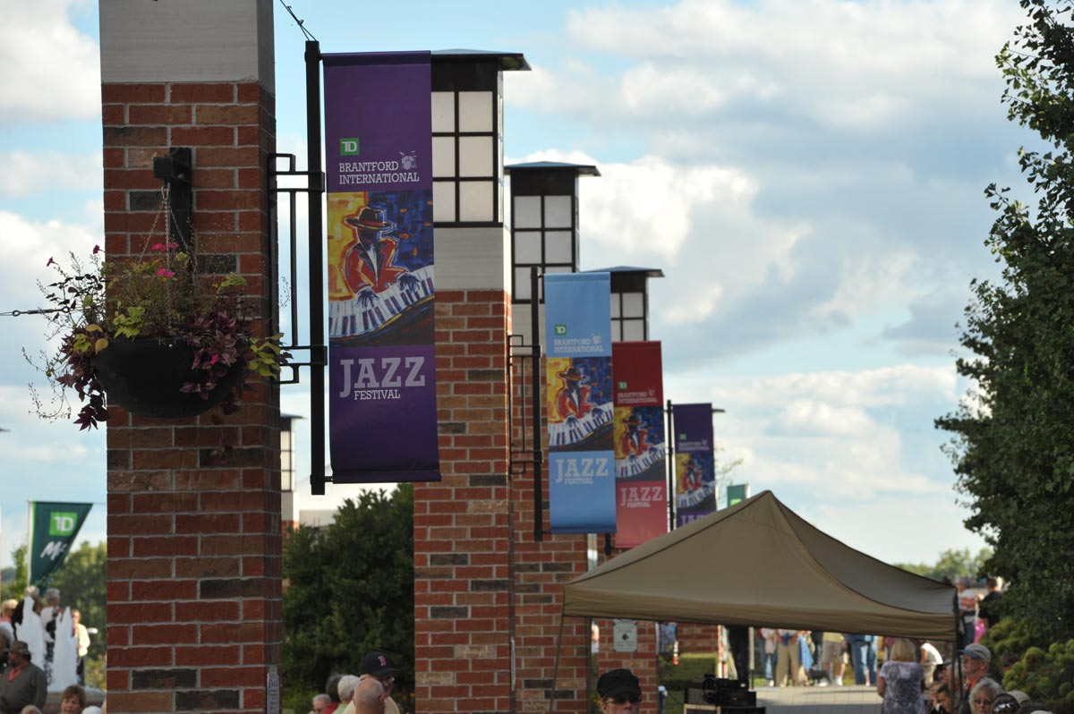 Festival banners line Harmony Square