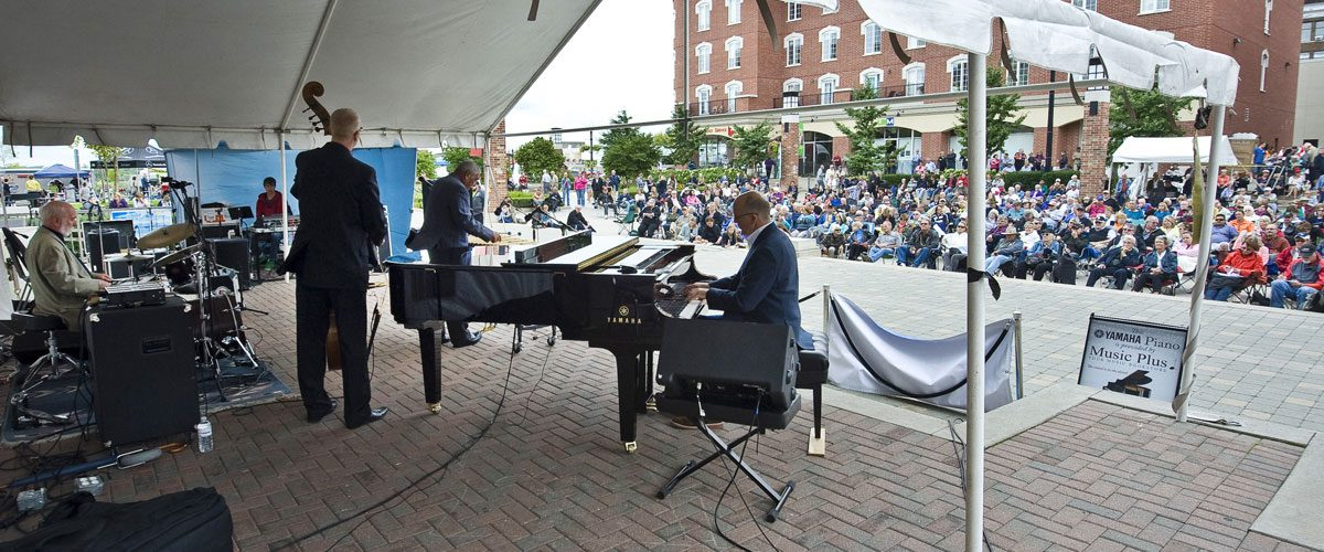 A band performing on the Main Stage of the Brantford Jazz Festival