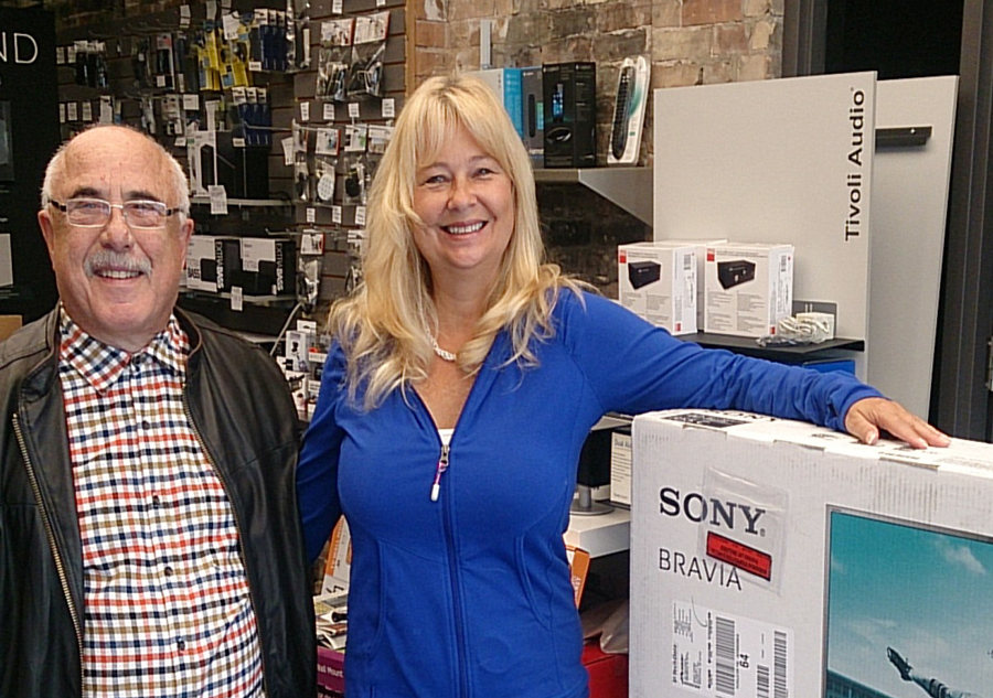 Frank DiFelice pictured with winner of Sony Bravia TV Rosanna Svirk